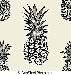 Seamless pattern with pineapples. Graphic stylized drawing....