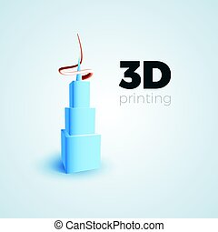 3D printing concept - 3D printing vector illustration...