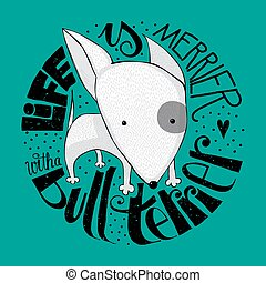 Cute Bull Terrier puppy design - Small Bull Terrier dog with...