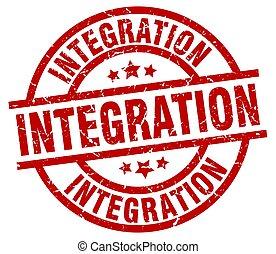 integration round red grunge stamp
