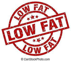 low fat round red grunge stamp