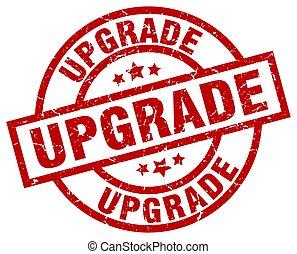 upgrade round red grunge stamp