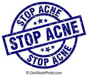stop acne blue round grunge stamp