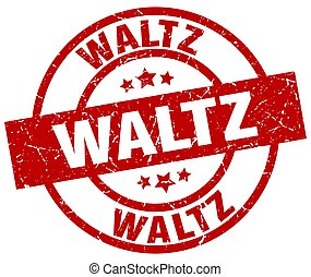 waltz round red grunge stamp