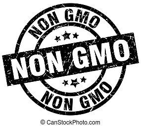 non gmo round grunge black stamp