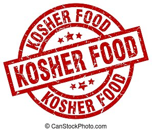 kosher food round red grunge stamp