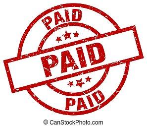 paid round red grunge stamp
