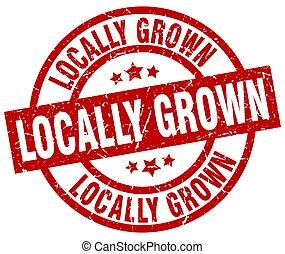 locally grown round red grunge stamp
