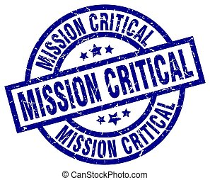 mission critical blue round grunge stamp
