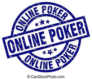online poker blue round grunge stamp