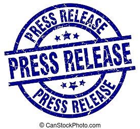 press release blue round grunge stamp