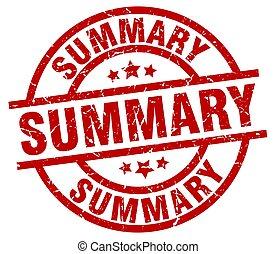summary round red grunge stamp