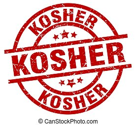 kosher round red grunge stamp