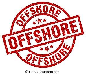 offshore round red grunge stamp