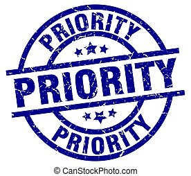 priority blue round grunge stamp
