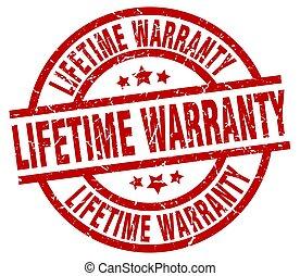 lifetime warranty round red grunge stamp