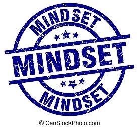 mindset blue round grunge stamp