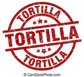 tortilla round red grunge stamp