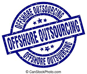 offshore outsourcing blue round grunge stamp
