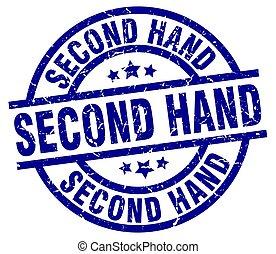 second hand blue round grunge stamp