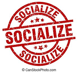 socialize round red grunge stamp