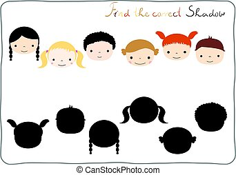 Find the correct shadow - matching game for children learning to distinguish different shapes and silhouettes with boys and girls faces