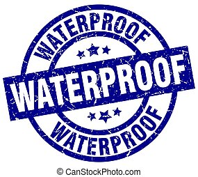 waterproof blue round grunge stamp