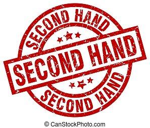 second hand round red grunge stamp
