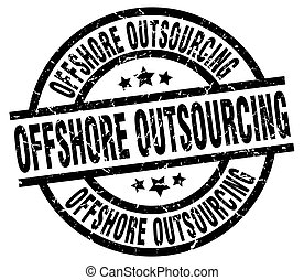 offshore outsourcing round grunge black stamp