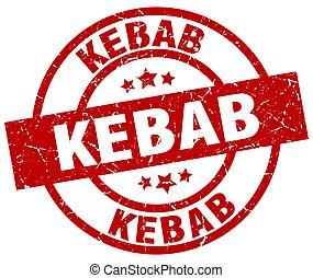 kebab round red grunge stamp