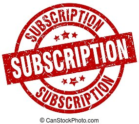 subscription round red grunge stamp