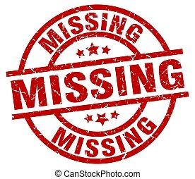 missing round red grunge stamp