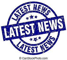 latest news blue round grunge stamp