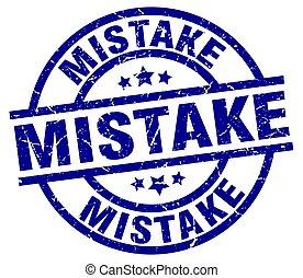 mistake blue round grunge stamp
