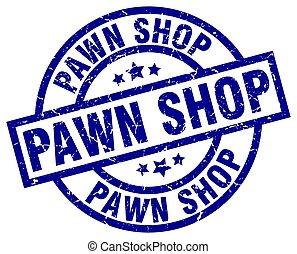 pawn shop blue round grunge stamp