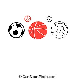 Vector icons of different sports balls