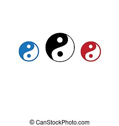 Vector icons of yin yang masculine head and feminine
