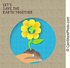 Happy Earth Day paper nature illustration quote