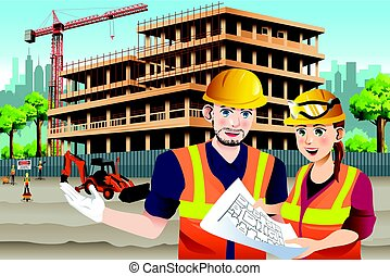 Working Female Construction Worker