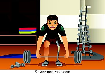 Disabled Athlete Exercising - A vector illustration of...