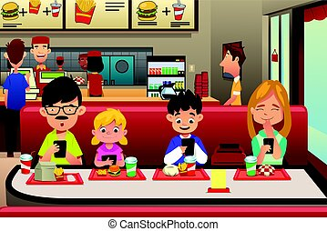 Family Eating Out in the Restaurant - A vector illustration...