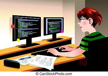 Female Programmer Coding on a Computer - A vector...