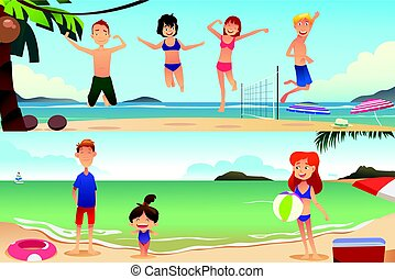 Family Vacation on the Beach - A vector illustration of...