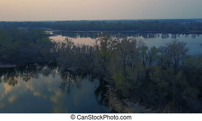 Flight over the river at sunset - Flight over the Dnieper...