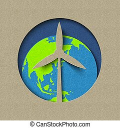 Earth day wind mill green energy paper cut design