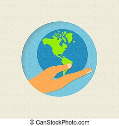 Earth day paper cut world environment concept
