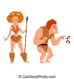 Caveman primitive stone age cartoon neanderthal people...