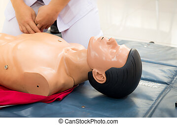 CPR First Aid Training Concept.
