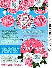 Springtime holidays floral greeting poster design