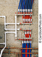 polypropylene plastic pipes with ball valves in boiler room